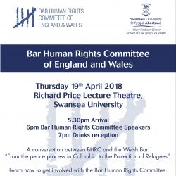 "A conversation between BHRC and the Welsh Bar: From the peace process in Colombia to the Protection of Refugees""."