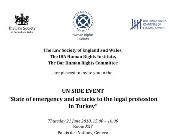 "UN Side Event: ""State of emergency and attacks to the legal profession  in Turkey"""