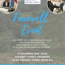 12 December @ 18:30 Farewell Event for BHRC Chair Kirsty Brimelow QC