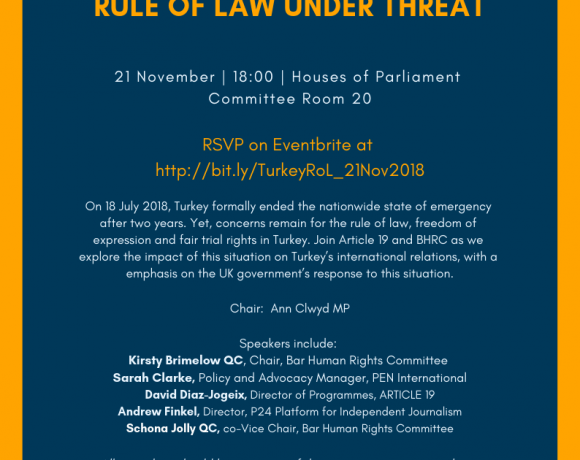 EVENT: 21 November 18:00-Turkey's Continuing Crisis: Freedom of Expression and the Rule of Law under Threat