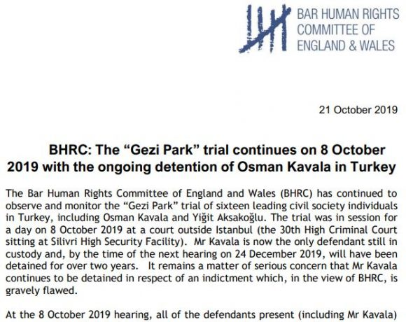 "BHRC: The ""Gezi Park"" trial continues on 8 October 2019 with the ongoing detention of Osman Kavala in Turkey"