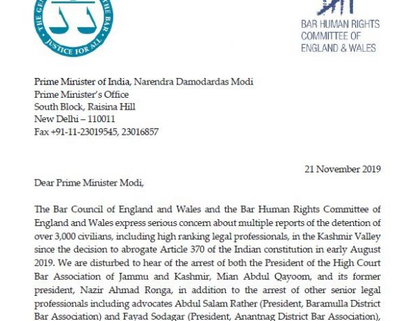 BHRC and the Bar Council express serious concern about Kashmir in letter to Prime Minister Modi