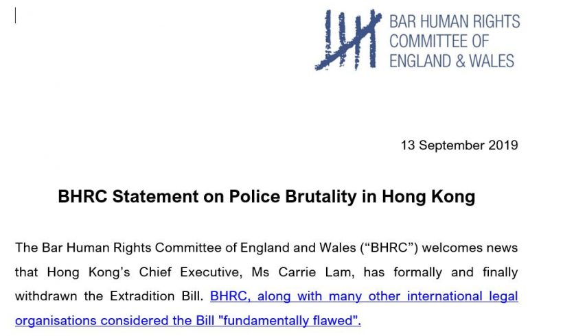 BHRC raises serious concern over reports of police brutality in Hong Kong