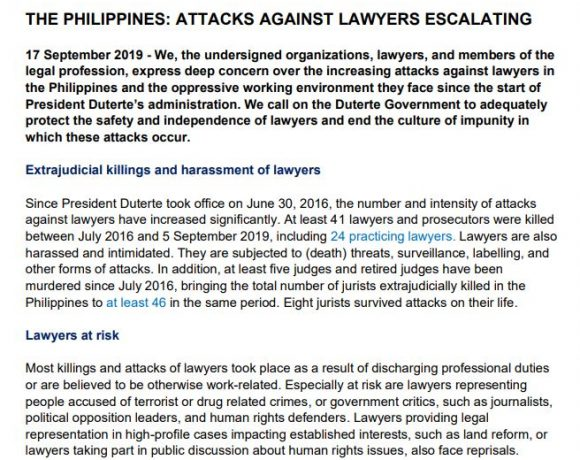 Joint call by international legal community: Protect Filipino lawyers!