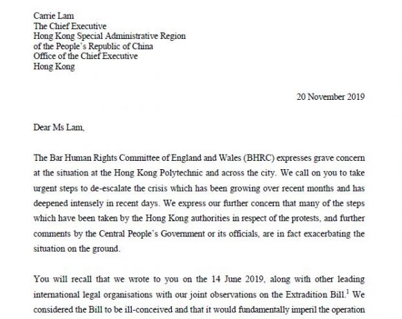 BHRC gravely concerned as situation in Hong Kong intensifies in letter to Chief Executive Carrie Lam