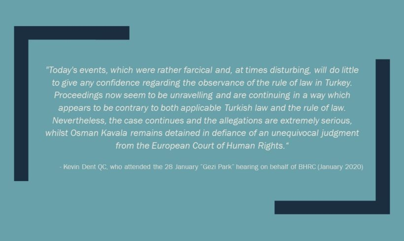"Turkey: Osman Kavala remains detained in defiance of ECHR decision, as proceedings unravel in the ""Gezi Park"" trial"