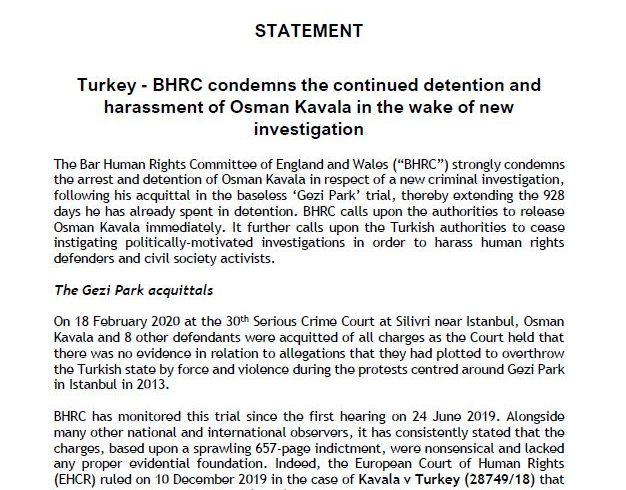 BHRC condemns the continued detention and harassment of Osman Kavala in the wake of new investigation